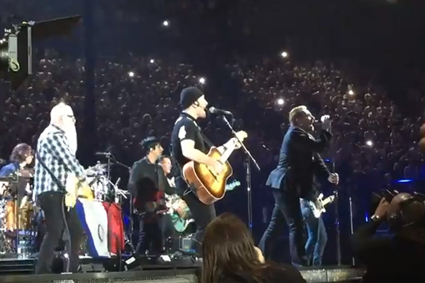 Eagles of Death Metal joined U2 on stage today at a concert in Paris