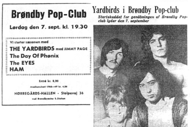 Led Zeppelin made their live debut at the Teen Club Box 45 in Gladsaxe, Denmark