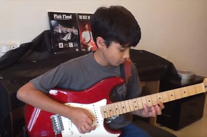 11 year old boys plays excellent cover of 'Comfortably Numb'