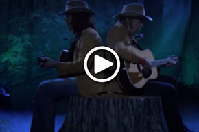WATCH: Two Neil Youngs on a tree stump